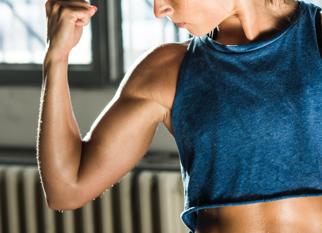Strong arms defined muscle