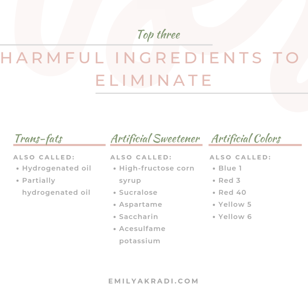 Top three harmful ingredients to eliminate